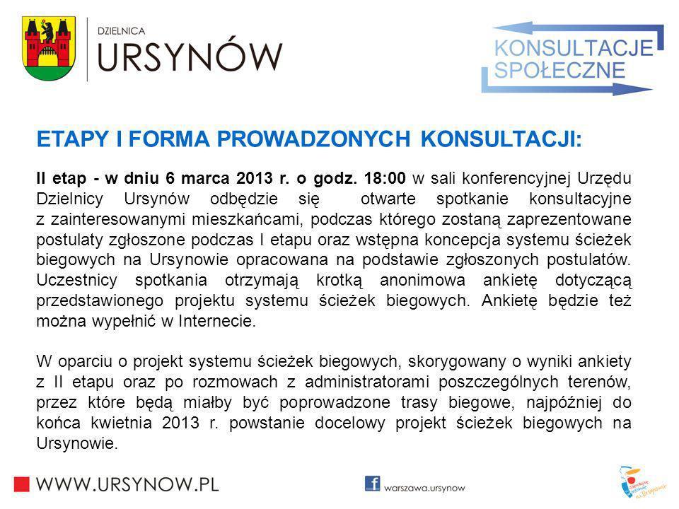 ETAPY I FORMA PROWADZONYCH KONSULTACJI: II etap - w dniu 6 marca 2013 r. o godz. 18:00 w sali konferencyjnej Urzędu Dzielnicy Ursynów odbędzie się otw
