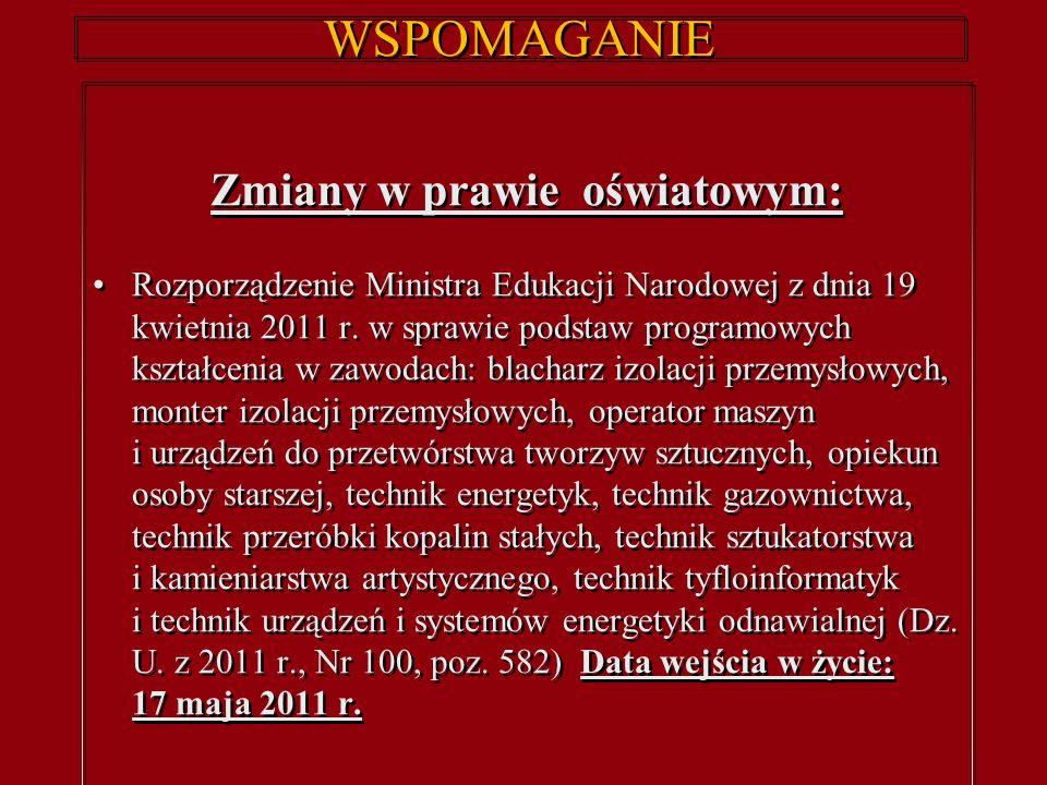 WSPOMAGANIE Zmiany w prawie oświatowym: Rozporządzenie Ministra Edukacji Narodowej z dnia 19 kwietnia 2011 r.