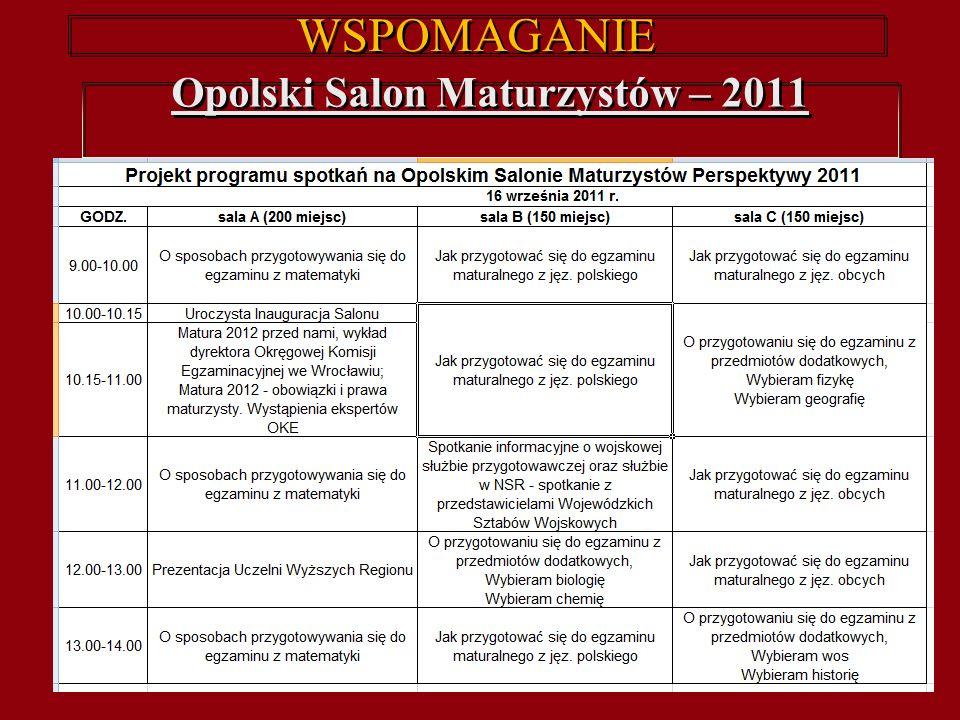 WSPOMAGANIE Opolski Salon Maturzystów – 2011 Opolski Salon Maturzystów – 2011