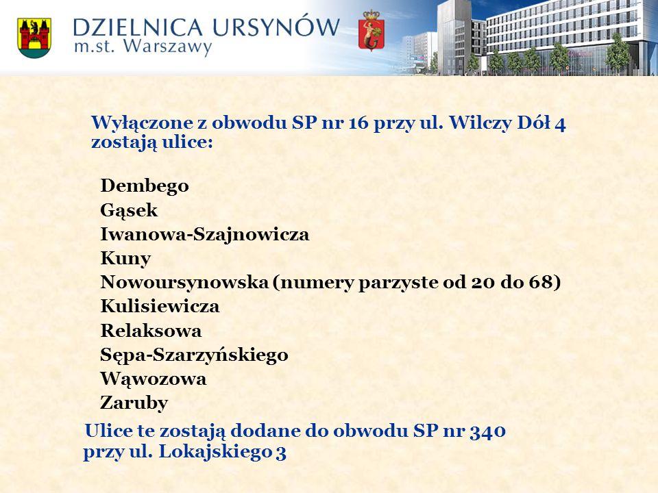 Wyłączone z obwodu SP nr 16 przy ul. Wilczy Dół 4 zostają ulice: Dembego Gąsek Iwanowa-Szajnowicza Kuny Nowoursynowska (numery parzyste od 20 do 68) K