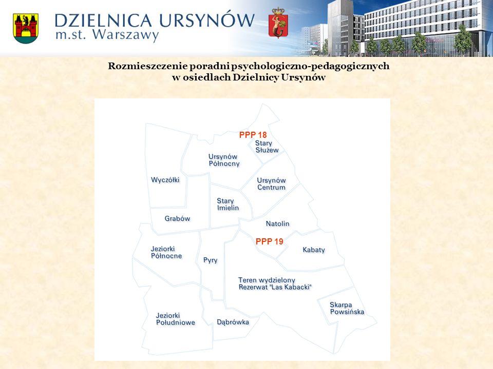 Rozmieszczenie poradni psychologiczno-pedagogicznych w osiedlach Dzielnicy Ursynów PPP 19 PPP 18