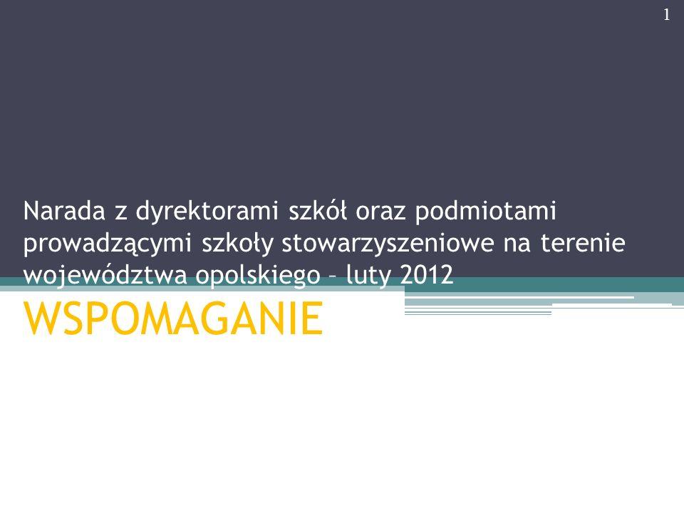 Narada z dyrektorami szkół oraz podmiotami prowadzącymi szkoły stowarzyszeniowe na terenie województwa opolskiego – luty 2012 WSPOMAGANIE 1