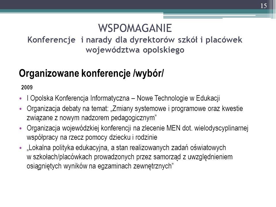WSPOMAGANIE Konferencje i narady dla dyrektorów szkół i placówek województwa opolskiego Organizowane konferencje /wybór/ 2009 I Opolska Konferencja In