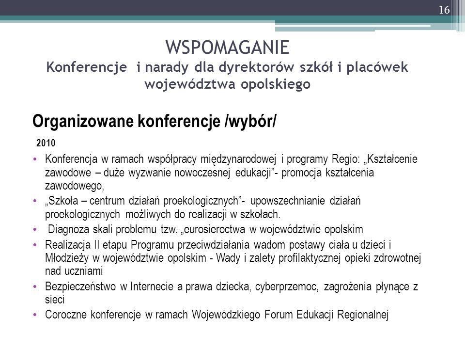 WSPOMAGANIE Konferencje i narady dla dyrektorów szkół i placówek województwa opolskiego Organizowane konferencje /wybór/ 2010 Konferencja w ramach wsp