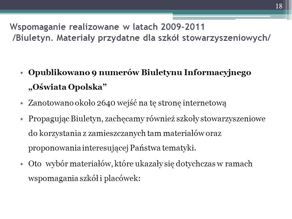 Wspomaganie realizowane w latach 2009-2011 /Biuletyn. Materiały przydatne dla szkół stowarzyszeniowych/ Opublikowano 9 numerów Biuletynu Informacyjneg