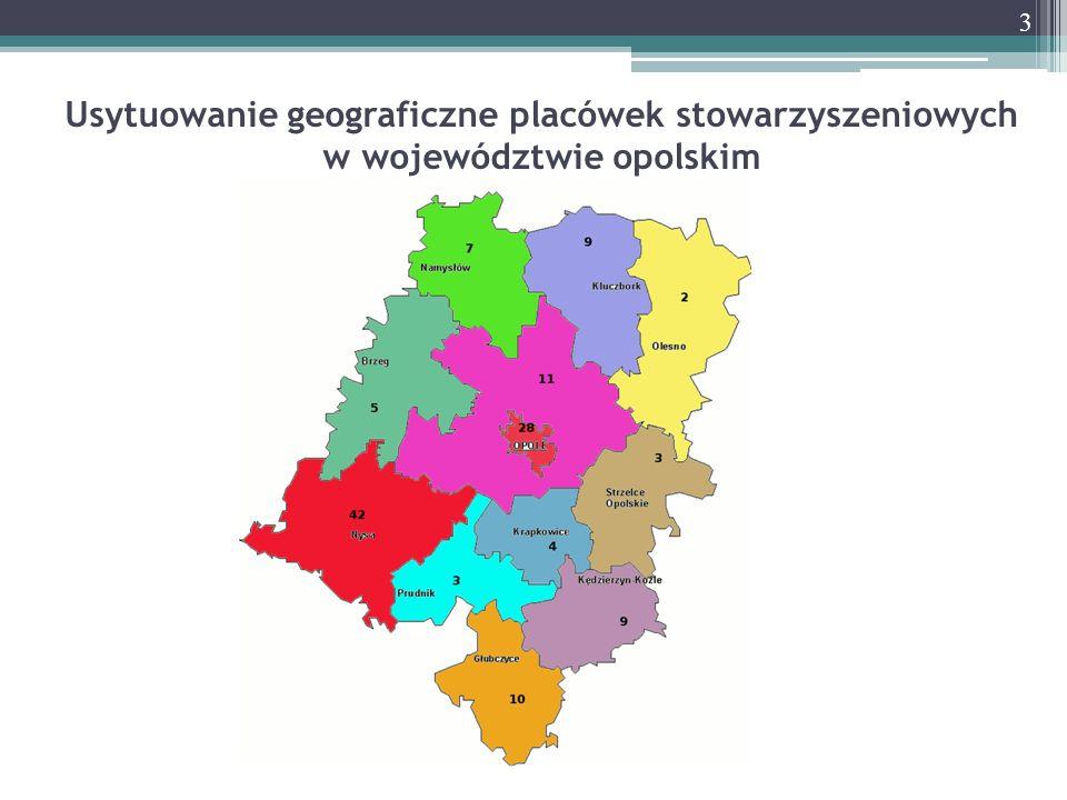Usytuowanie geograficzne placówek stowarzyszeniowych w województwie opolskim 3