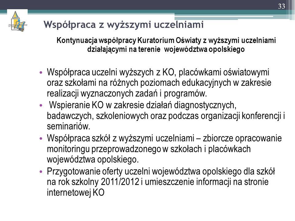 Współpraca z wyższymi uczelniami Kontynuacja współpracy Kuratorium Oświaty z wyższymi uczelniami działającymi na terenie województwa opolskiego Współp