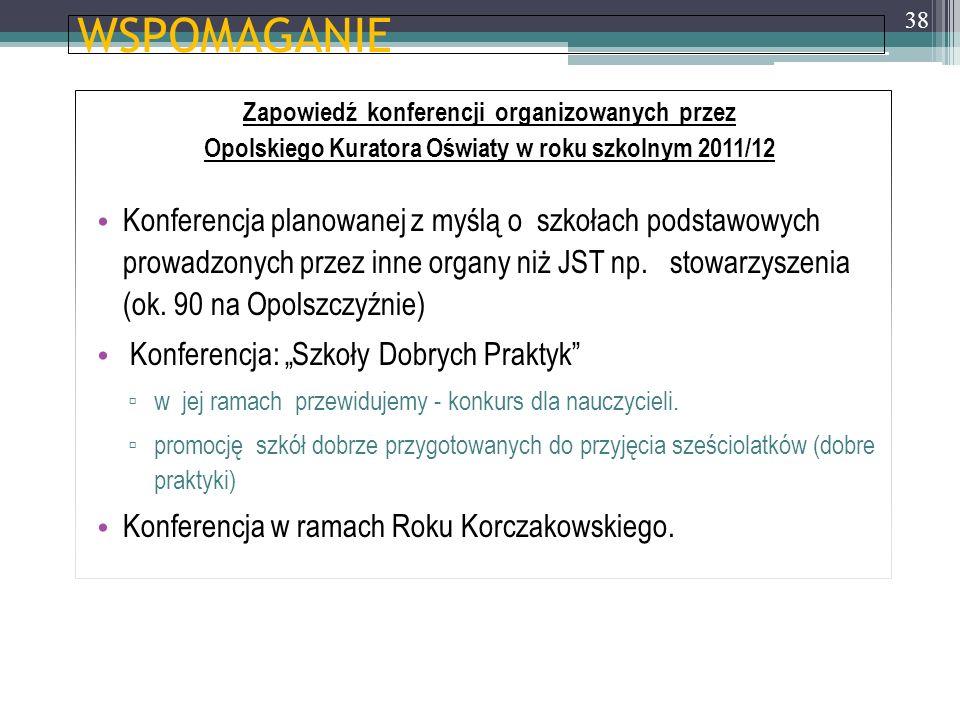 WSPOMAGANIE Zapowiedź konferencji organizowanych przez Opolskiego Kuratora Oświaty w roku szkolnym 2011/12 Konferencja planowanej z myślą o szkołach p