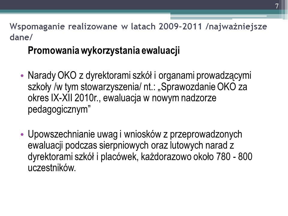 Wspomaganie realizowane w latach 2009-2011 /najważniejsze dane/ Promowania wykorzystania ewaluacji Narady OKO z dyrektorami szkół i organami prowadząc
