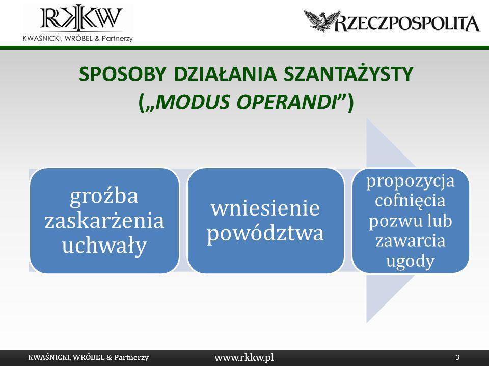 www.rkkw.pl SPOSOBY DZIAŁANIA SZANTAŻYSTY (MODUS OPERANDI) KWAŚNICKI, WRÓBEL & Partnerzy3