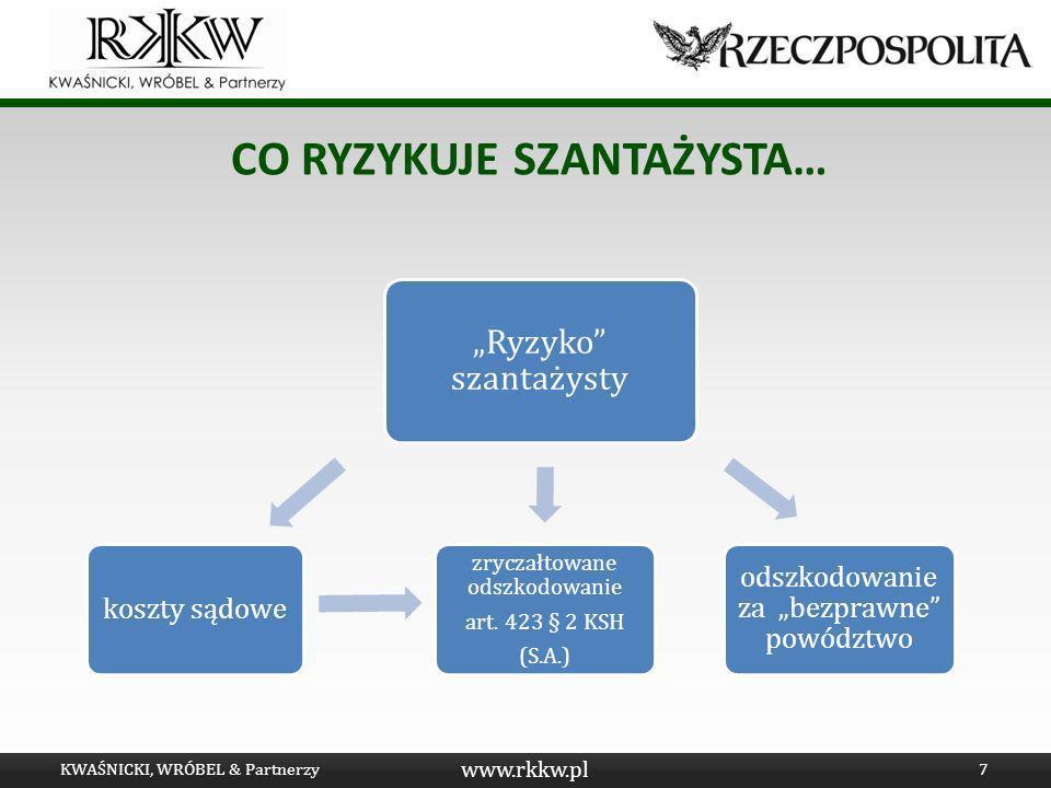 www.rkkw.pl CO RYZYKUJE SZANTAŻYSTA… KWAŚNICKI, WRÓBEL & Partnerzy7