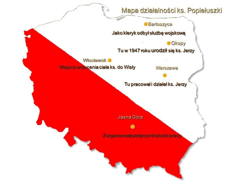 Tu w 1947 roku urodził się ks.Jerzy Mapa działalności ks.