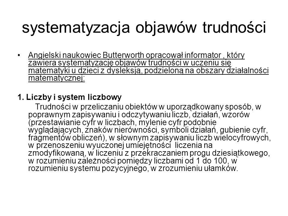 systematyzacja objawów trudności Angielski naukowiec Butterworth opracował informator, który zawiera systematyzację objawów trudności w uczeniu się ma