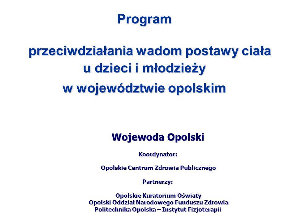 Program przeciwdziałania wadom postawy ciała u dzieci i młodzieży w województwie opolskim Wojewoda Opolski Koordynator: Opolskie Centrum Zdrowia Publi