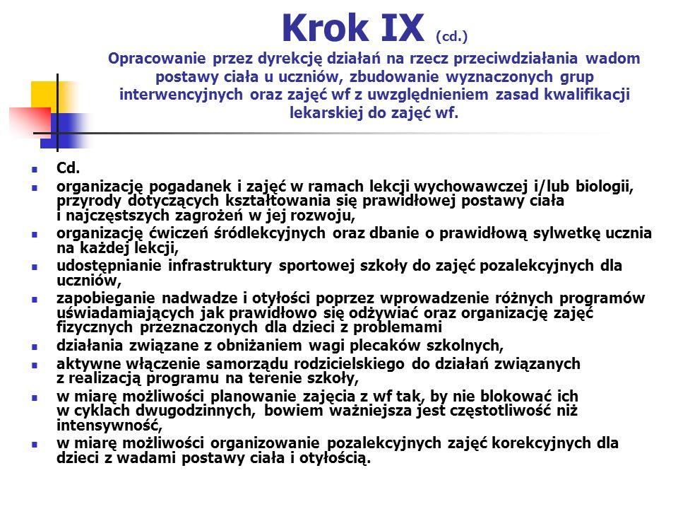 Krok IX (cd.) Opracowanie przez dyrekcję działań na rzecz przeciwdziałania wadom postawy ciała u uczniów, zbudowanie wyznaczonych grup interwencyjnych