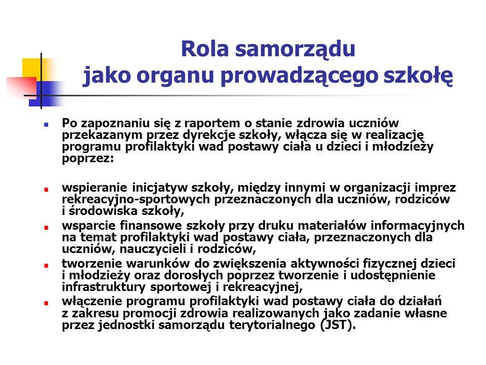 Rola samorządu jako organu prowadzącego szkołę Po zapoznaniu się z raportem o stanie zdrowia uczniów przekazanym przez dyrekcje szkoły, włącza się w r