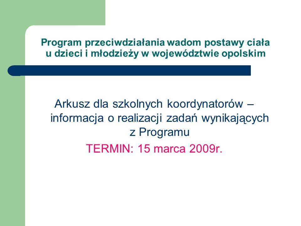 Arkusz dla szkolnych koordynatorów – informacja o realizacji zadań wynikających z Programu TERMIN: 15 marca 2009r. Program przeciwdziałania wadom post