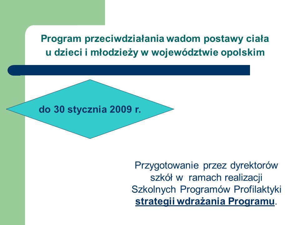 Przygotowanie przez dyrektorów szkół w ramach realizacji Szkolnych Programów Profilaktyki strategii wdrażania Programu. Program przeciwdziałania wadom
