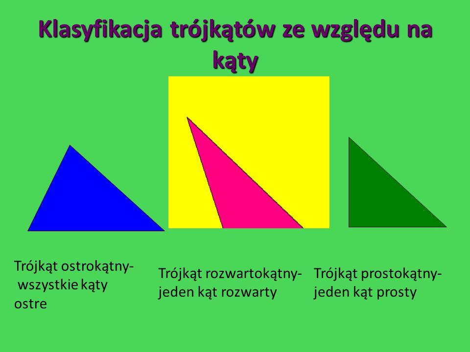 DEFINICJE Trójkątem nazywamy figurę płaską będącą wielokątem o trzech bokach. Jeden z boków trójkąta jest nazywany podstawą. Wysokością trójkąta nazyw