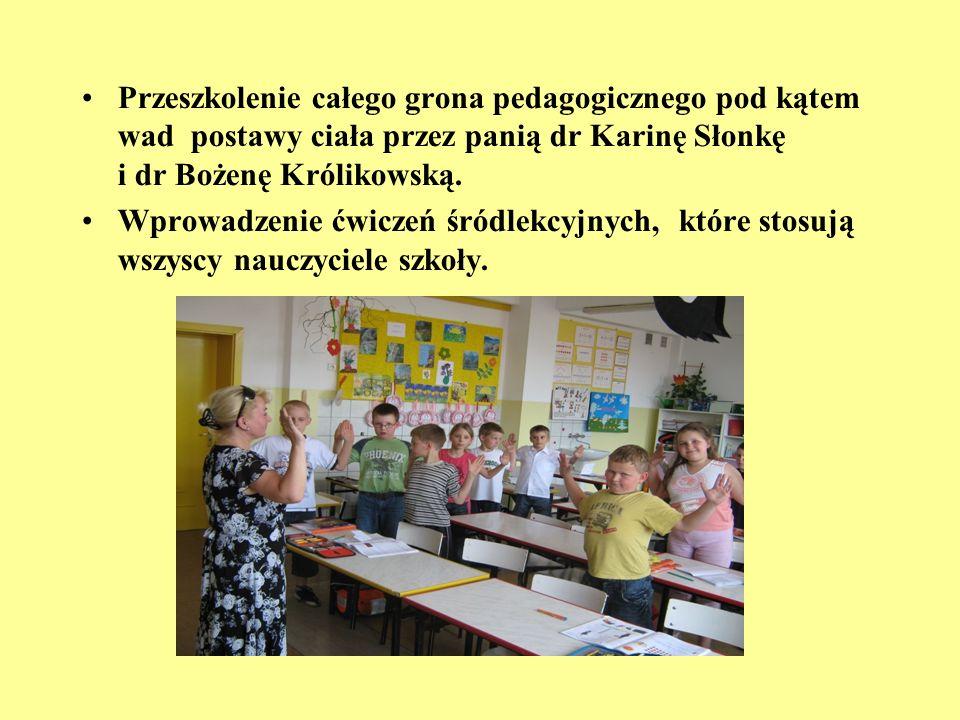 Przeszkolenie całego grona pedagogicznego pod kątem wad postawy ciała przez panią dr Karinę Słonkę i dr Bożenę Królikowską. Wprowadzenie ćwiczeń śródl