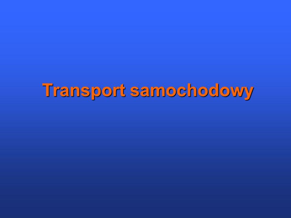 Charakterystyka Transport samochodowy (zwany też drogowym) – jedna z gałęzi transportu, w której ładunki i pasażerowie przemieszczają się po drogach lądowych przy pomocy kołowych środków transportu (np.
