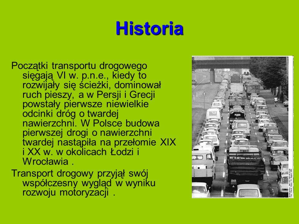 Historia Początki transportu drogowego sięgają VI w. p.n.e., kiedy to rozwijały się ścieżki, dominował ruch pieszy, a w Persji i Grecji powstały pierw