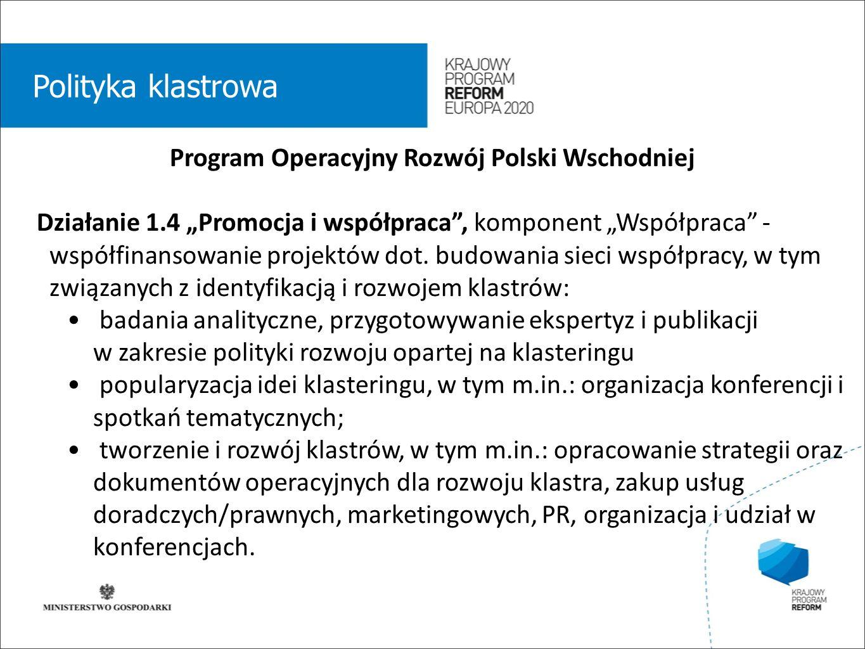 wstęp 01 Polityka klastrowa Program Operacyjny Rozwój Polski Wschodniej Działanie 1.4 Promocja i współpraca, komponent Współpraca - współfinansowanie