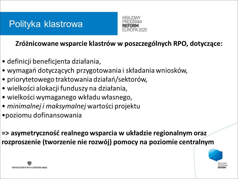 wstęp 01 Polityka klastrowa Zróżnicowane wsparcie klastrów w poszczególnych RPO, dotyczące: definicji beneficjenta działania, wymagań dotyczących przy