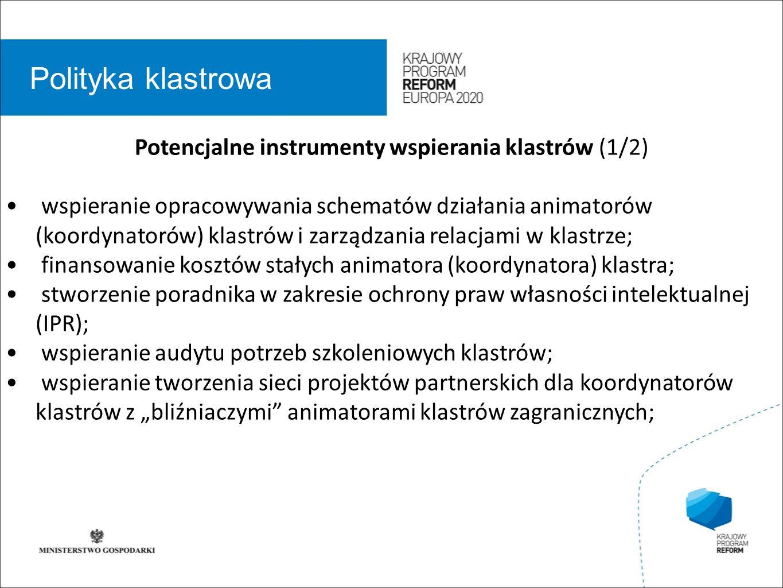 wstęp 01 Polityka klastrowa Potencjalne instrumenty wspierania klastrów (1/2) wspieranie opracowywania schematów działania animatorów (koordynatorów)
