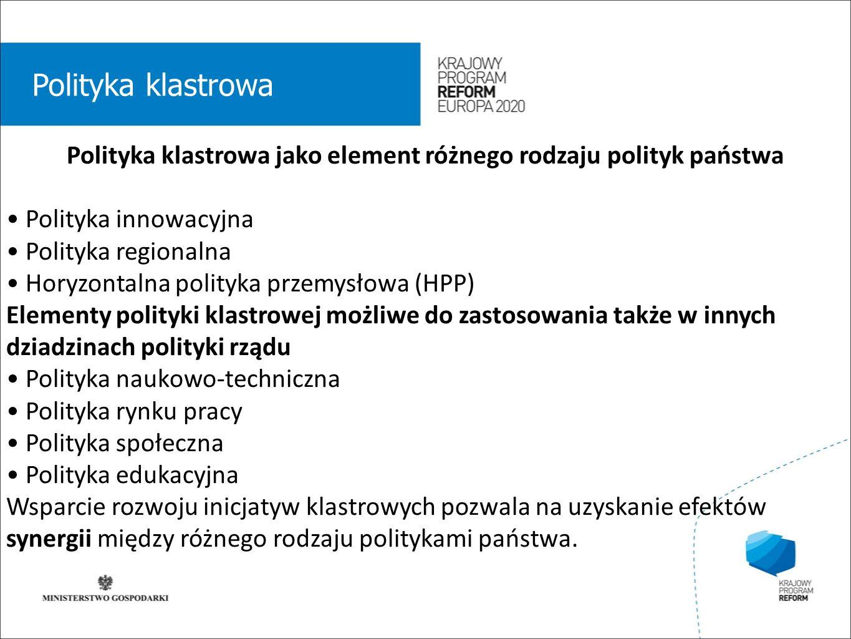 wstęp 01 Polityka klastrowa Polityka klastrowa jako element różnego rodzaju polityk państwa Polityka innowacyjna Polityka regionalna Horyzontalna poli