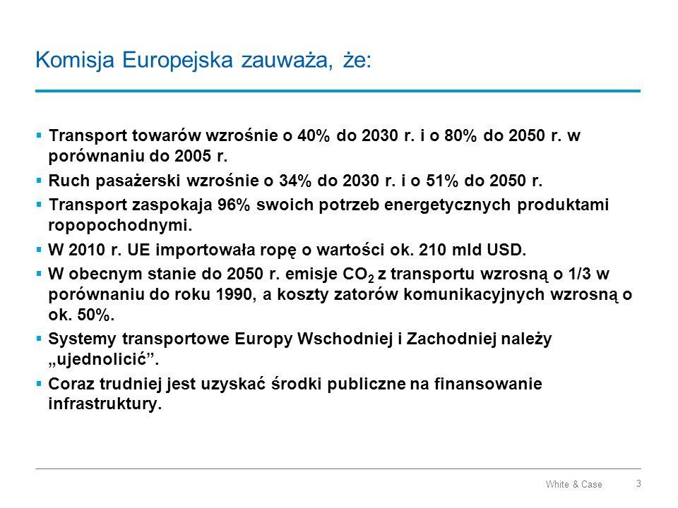 White & Case 14 The Europe 2020 Project Bonds Initiative Mechanizm na etapie konsultacji Cel: więcej, taniej, szybciej Założenia: Dzięki wsparciu EIB obligacje (emitent) uzyskają rating inwestycyjny Instrumentem wsparcia może być gwarancja (do 20% wartości obligacji) lub kredyt podporządkowany (junior debt) EIB wstępnie oceni projekt oraz wyceni koszt gwarancji Obligacje nie mają zastąpić kapitału własnego sponsorów Nie jest intencją, aby obligacje zwiększały dług publiczny