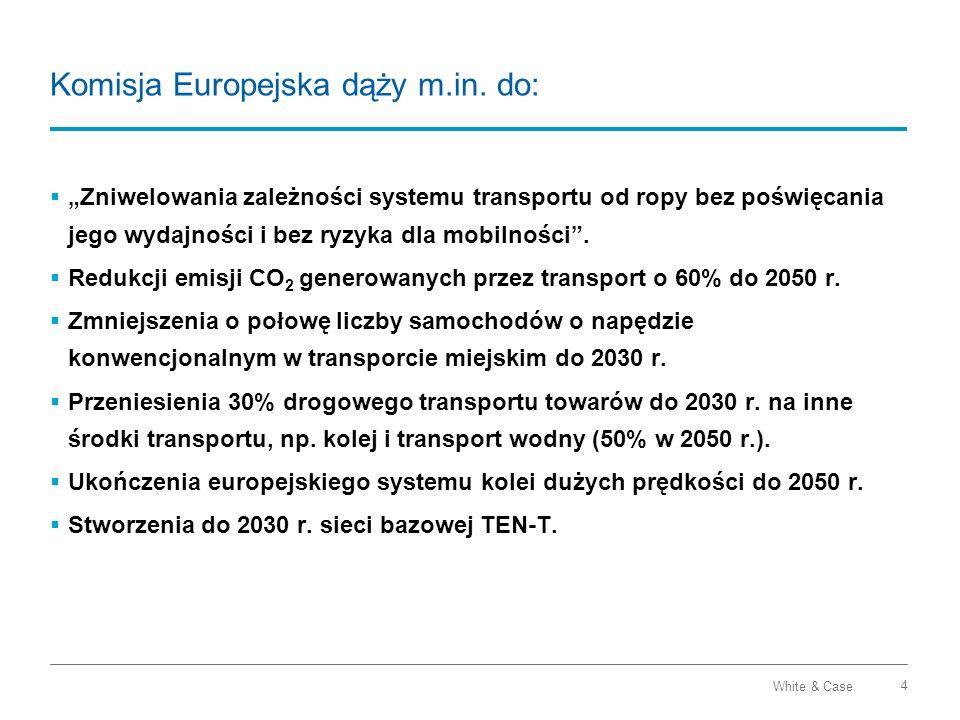 White & Case 4 Komisja Europejska dąży m.in. do: Zniwelowania zależności systemu transportu od ropy bez poświęcania jego wydajności i bez ryzyka dla m