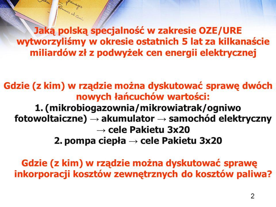 2 Jaką polską specjalność w zakresie OZE/URE wytworzyliśmy w okresie ostatnich 5 lat za kilkanaście miliardów zł z podwyżek cen energii elektrycznej G