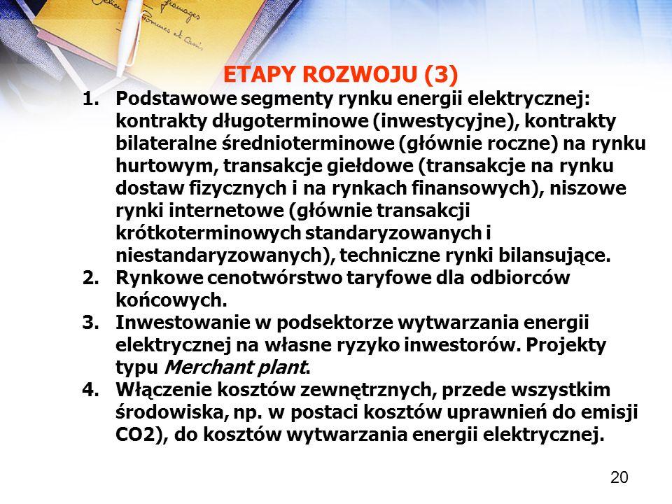 20 ETAPY ROZWOJU (3) 1.Podstawowe segmenty rynku energii elektrycznej: kontrakty długoterminowe (inwestycyjne), kontrakty bilateralne średnioterminowe
