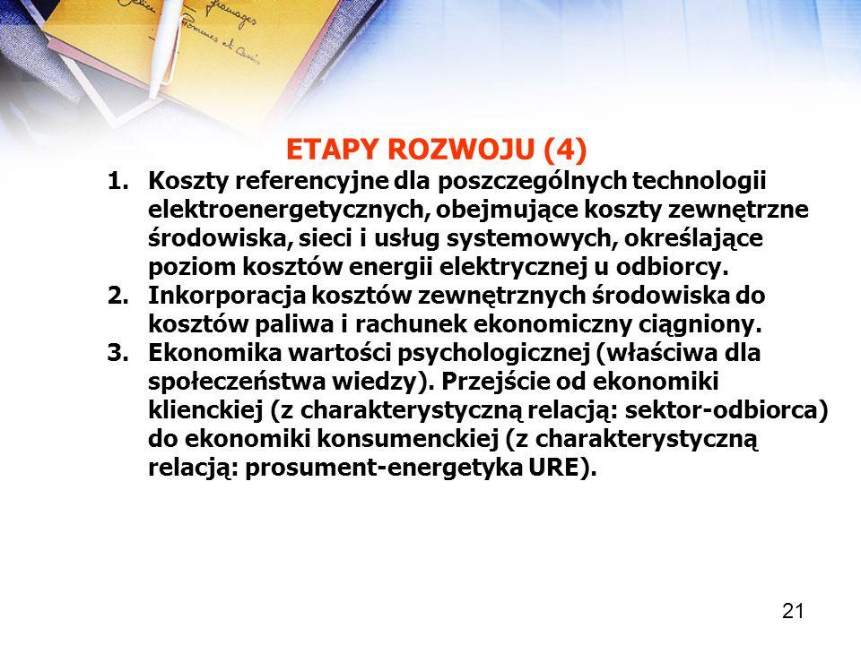 21 ETAPY ROZWOJU (4) 1.Koszty referencyjne dla poszczególnych technologii elektroenergetycznych, obejmujące koszty zewnętrzne środowiska, sieci i usłu