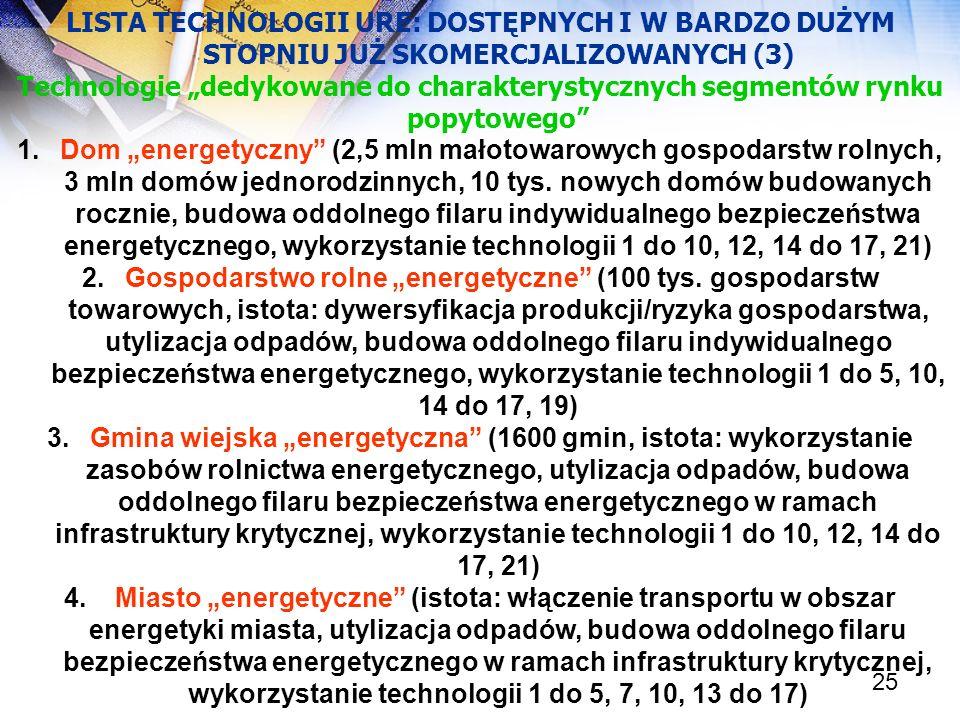 25 LISTA TECHNOLOGII URE: DOSTĘPNYCH I W BARDZO DUŻYM STOPNIU JUŻ SKOMERCJALIZOWANYCH (3) Technologie dedykowane do charakterystycznych segmentów rynk