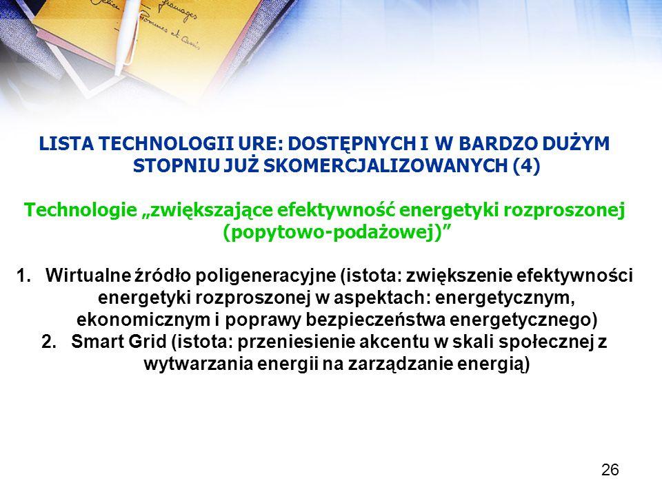 26 LISTA TECHNOLOGII URE: DOSTĘPNYCH I W BARDZO DUŻYM STOPNIU JUŻ SKOMERCJALIZOWANYCH (4) Technologie zwiększające efektywność energetyki rozproszonej