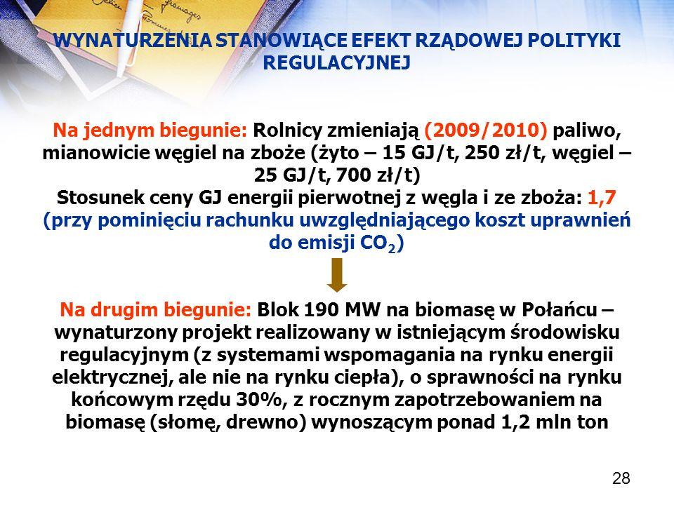 28 WYNATURZENIA STANOWIĄCE EFEKT RZĄDOWEJ POLITYKI REGULACYJNEJ Na jednym biegunie: Rolnicy zmieniają (2009/2010) paliwo, mianowicie węgiel na zboże (