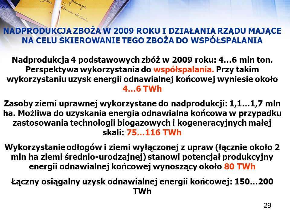 29 NADPRODUKCJA ZBOŻA W 2009 ROKU I DZIAŁANIA RZĄDU MAJĄCE NA CELU SKIEROWANIE TEGO ZBOŻA DO WSPÓŁSPALANIA Nadprodukcja 4 podstawowych zbóż w 2009 rok