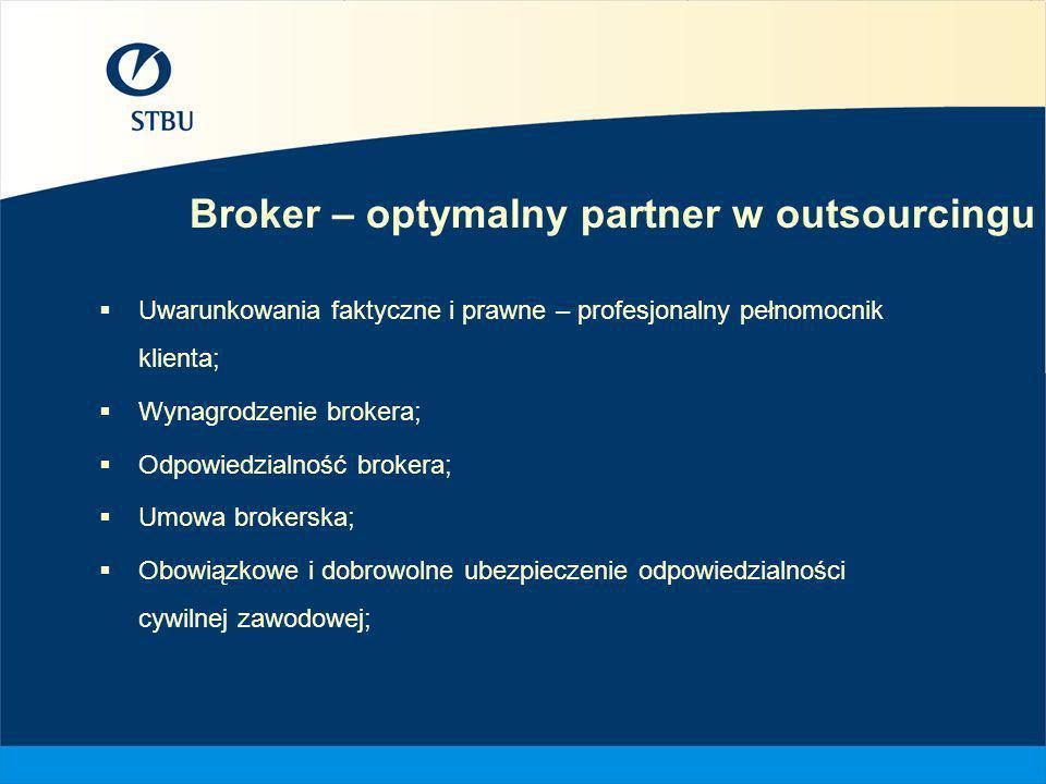 Broker – optymalny partner w outsourcingu Uwarunkowania faktyczne i prawne – profesjonalny pełnomocnik klienta; Wynagrodzenie brokera; Odpowiedzialnoś