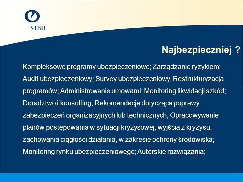 Najbezpieczniej ? Kompleksowe programy ubezpieczeniowe; Zarządzanie ryzykiem; Audit ubezpieczeniowy; Survey ubezpieczeniowy, Restrukturyzacja programó