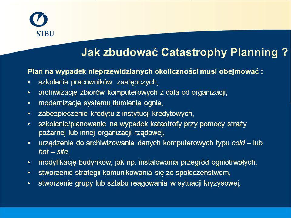 Jak zbudować Catastrophy Planning ? Plan na wypadek nieprzewidzianych okoliczności musi obejmować : szkolenie pracowników zastępczych, archiwizację zb