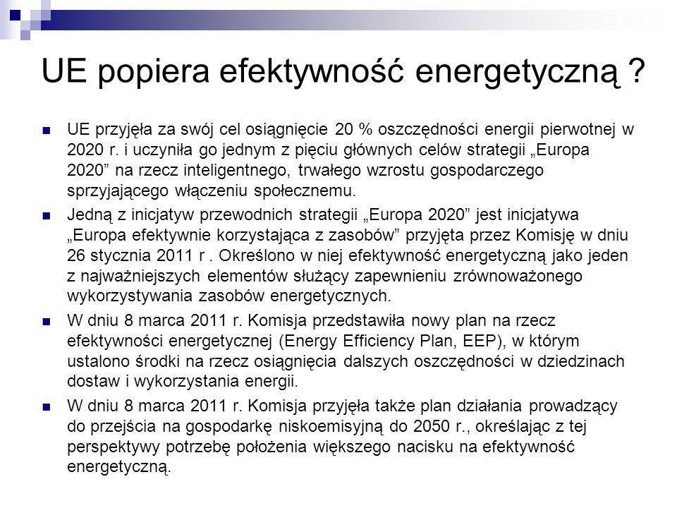 UE popiera efektywność energetyczną ? UE przyjęła za swój cel osiągnięcie 20 % oszczędności energii pierwotnej w 2020 r. i uczyniła go jednym z pięciu