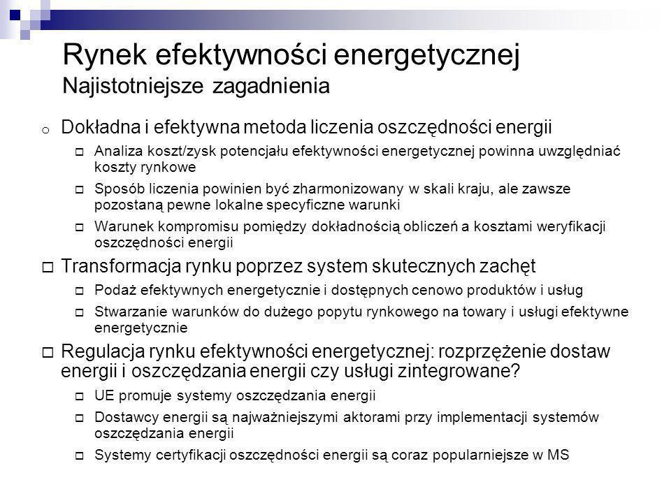 Rynek efektywności energetycznej Najistotniejsze zagadnienia o Dokładna i efektywna metoda liczenia oszczędności energii Analiza koszt/zysk potencjału