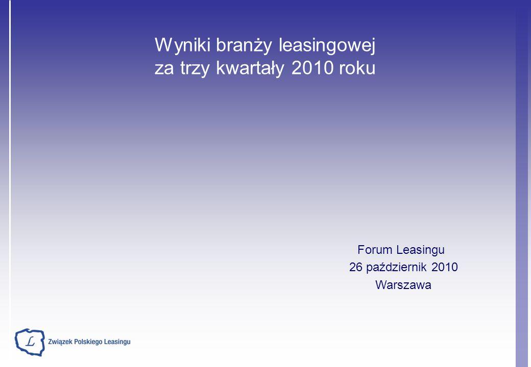 Wyniki branży leasingowej za trzy kwartały 2010 roku Forum Leasingu 26 październik 2010 Warszawa