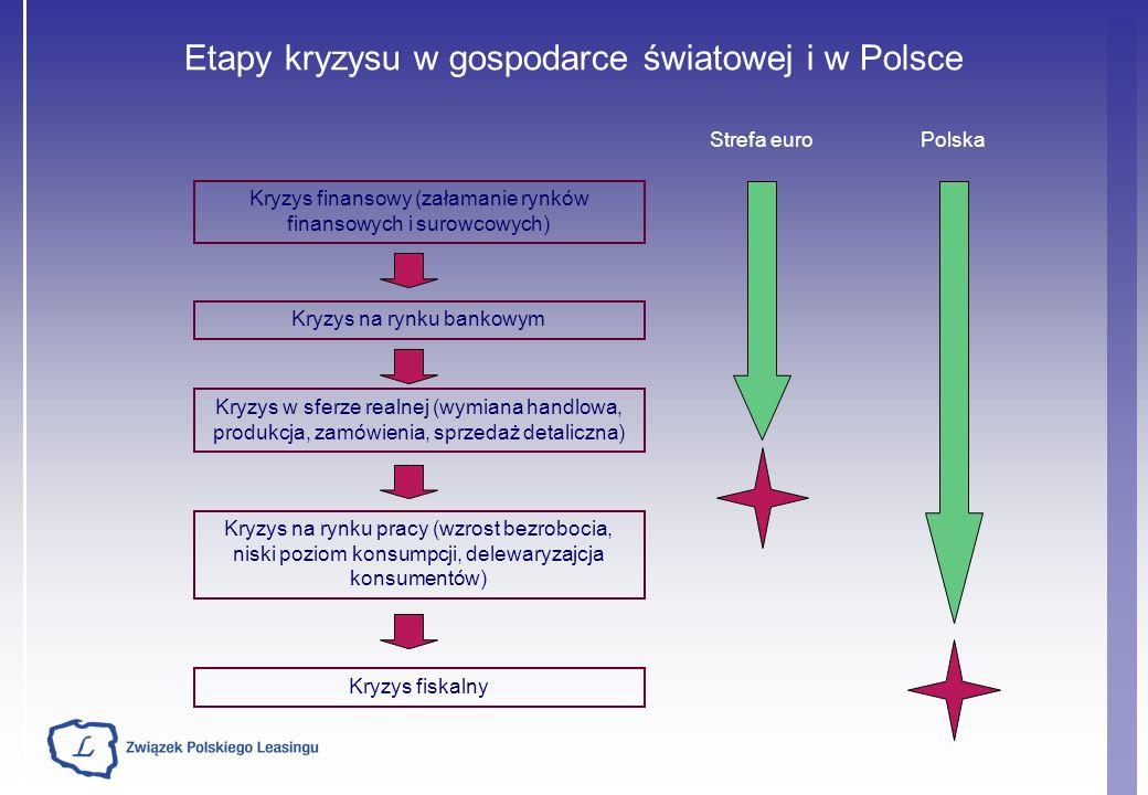 Etapy kryzysu w gospodarce światowej i w Polsce Kryzys finansowy (załamanie rynków finansowych i surowcowych) Kryzys na rynku bankowym Kryzys w sferze realnej (wymiana handlowa, produkcja, zamówienia, sprzedaż detaliczna) Kryzys na rynku pracy (wzrost bezrobocia, niski poziom konsumpcji, delewaryzajcja konsumentów) Kryzys fiskalny Strefa euroPolska