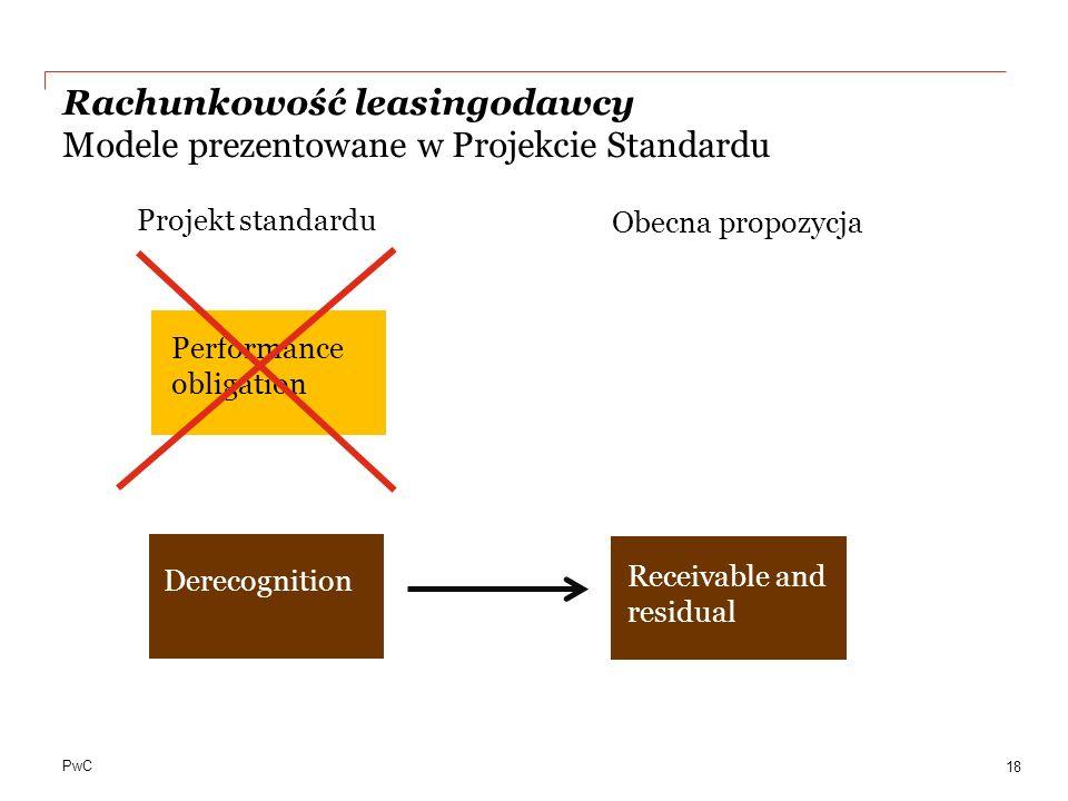PwC Rachunkowość leasingodawcy Modele prezentowane w Projekcie Standardu 18 Performance obligation Derecognition Receivable and residual Projekt stand