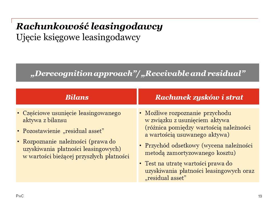 PwC Rachunkowość leasingodawcy Ujęcie księgowe leasingodawcy 19 Derecognition approach/ Receivable and residual BilansRachunek zysków i strat Częściow
