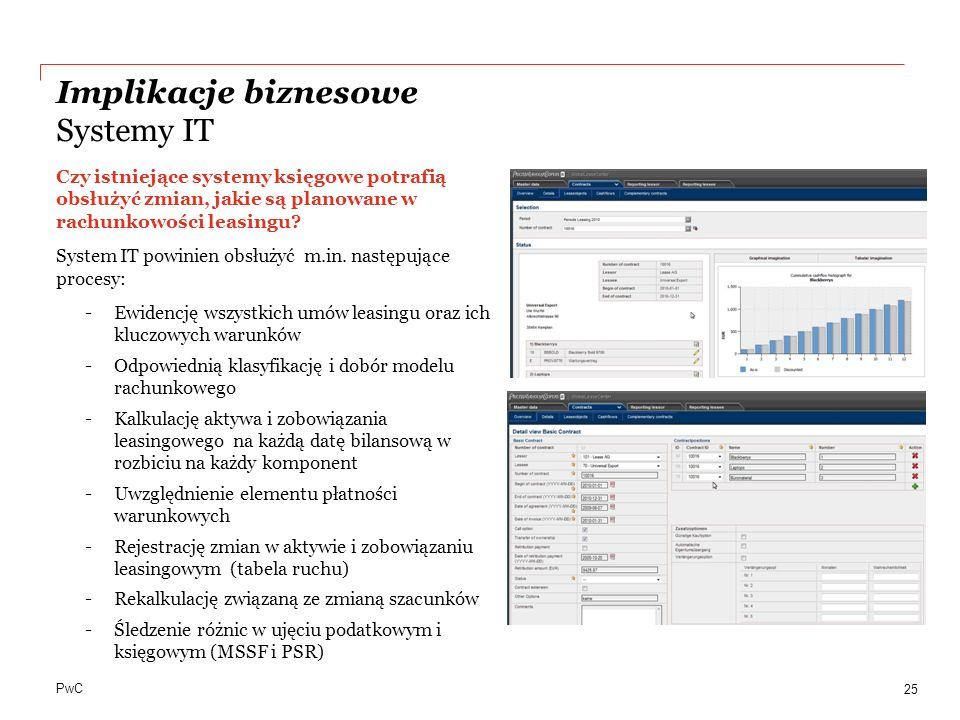 PwC Implikacje biznesowe Systemy IT 25 Czy istniejące systemy księgowe potrafią obsłużyć zmian, jakie są planowane w rachunkowości leasingu? System IT