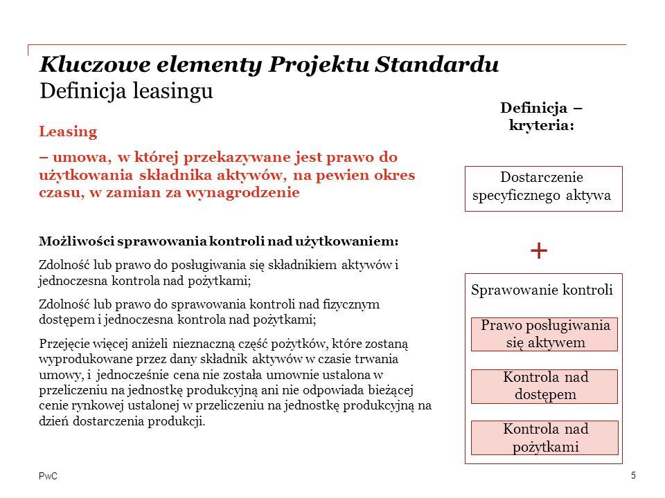 PwC Dotyczy każdego leasingu za wyjątkiem: Leasingu wartości niematerialnych (MSR 38); Umów leasingowych dotyczących poszukiwania lub wykorzystywania minerałów, ropy naftowej, gazu ziemnego oraz podobnych nieodnawialnych zasobów (MSSF 6); Leasingu aktywów biologicznych (MSR 41); Gdy umowa pomiędzy datą zawarcia a datą rozpoczęcia leasingu spełnia definicję umów rodzących obciążenia (MSR 37); Leasingu nieruchomości inwestycyjnych wycenianych według wartości godziwej (MSR 40), planowane pełne wyłączenie wyceny nieruchomości inwestycyjnych z zakresu standardu; Niektórych składników umów leasingu z elementami serwisowymi.
